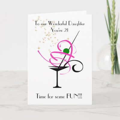 Daughters 21st Birthday Greeting In Purple Pink Card