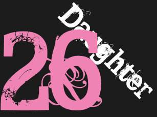 daughter 26th birthday white pink on black card