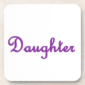 Daughter 3D Style Purple Lettering Gift Item Beverage Coaster