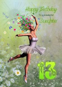 Daughter Age 13 Flower Fairy Birthday Card