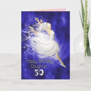 Daughter Age 50 Leaping Ballerina Birthday Card