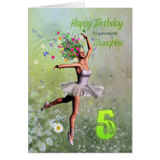 Daughter age 5, flower fairy birthday card