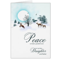 Daughter and partner, Christmas scene Card