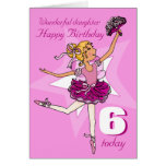Daughter ballerina birthday pink purple age card