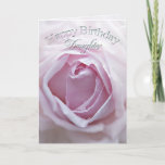"""Daughter, Birthday card with a pink rose<br><div class=""""desc"""">A delicate pale pink rose in close up. A gorgeous Birthday card that you can customize to convey your own sentiments.</div>"""