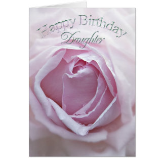 Daughter, Birthday card with a pink rose