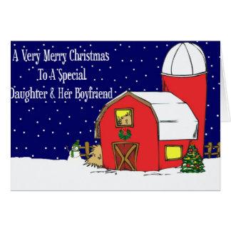 Daughter & Boyfriend Barn Christmas Card