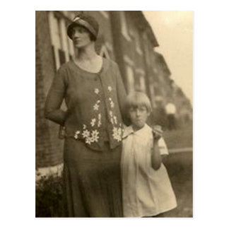 daughter by mother and building postcard