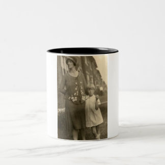 daughter by mother and building Two-Tone coffee mug