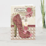 """Daughter Champagne And Shoes Birthday Card<br><div class=""""desc"""">Stylish and modern card with Champagne and Shoes in cream and blush rose color,  with roses butterflies and pretty blended background. With thanks to E.D.Resario</div>"""