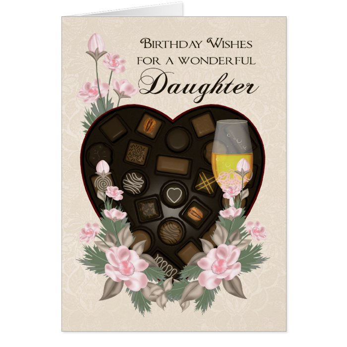 daughter chocolates wine and flower birthday greet card  zazzle, Greeting card