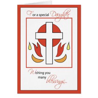 Daughter Confirmation Congratulations Cross Fire, Card