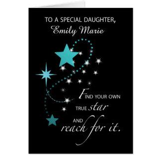 Daughter Customizable Name, Aqua Graduation Star Card