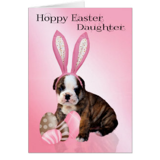 Daughter Cute Easter Bulldog Puppy With Eggs Card