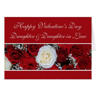 Daughter Daugher in law red and white roses Card