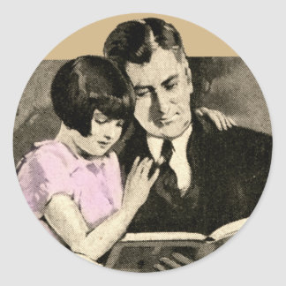 Daughter Father Cute Vintage Reading Child Parent Classic Round Sticker