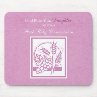 Daughter First Communion, Pink Mouse Pad