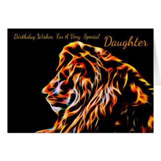 Daughter Fractal Birthday Lion, Neon Line Art Frac Card