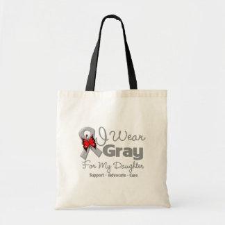 Daughter - Gray Ribbon Awareness Canvas Bags