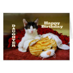 Daughter Happy Birthday Kitten with Toy Tiger Greeting Card