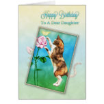 Daughter, Happy Birthday with a playful cat Card