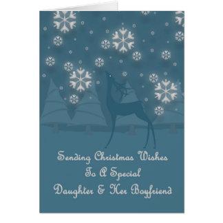 Daughter & Her Boyfriend Reindeer Christmas Greeting Card