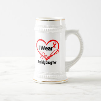 Daughter - I Wear a Red Heart Ribbon Mugs
