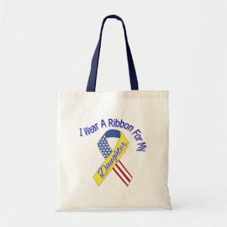 Daughter - I Wear A Ribbon Military Patriotic Tote Bag