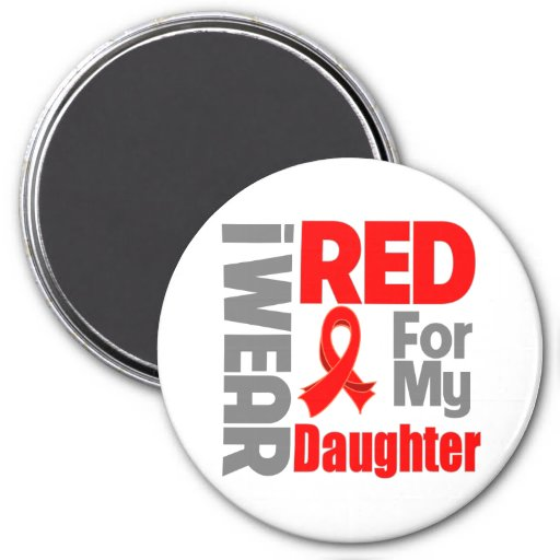 Daughter - I Wear Red Ribbon 3 Inch Round Magnet