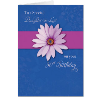 Daughter-in-Law 30th Birthday Daisy on Pink & Purp Greeting Card