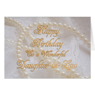 Daughter-in-Law, a birthday card with pearls