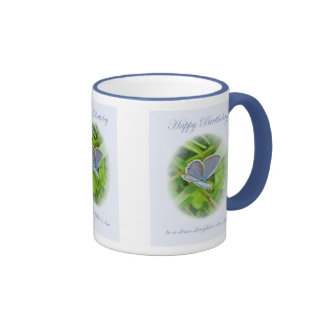 Daughter-In-Law Birthday Blue Butterfly Mugs