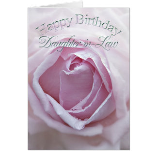 Daughter-in-Law, Birthday card with a pink rose