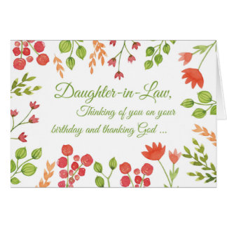 Daughter-in-Law Birthday Flowers Religious Card
