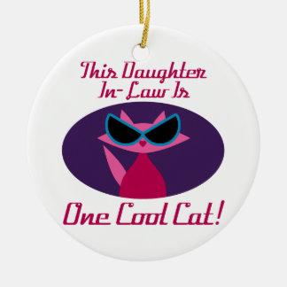 Daughter-In-Law Cool Cat Ceramic Ornament