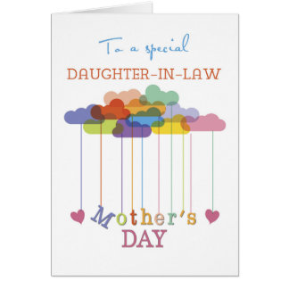 Daughter-in-Law, Cute Mother's Day Rainbow Clouds Greeting Card