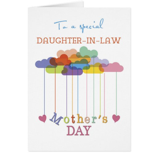 Daughter in law cute mother 39 s day rainbow clouds card for Mother s day gift for mother in law