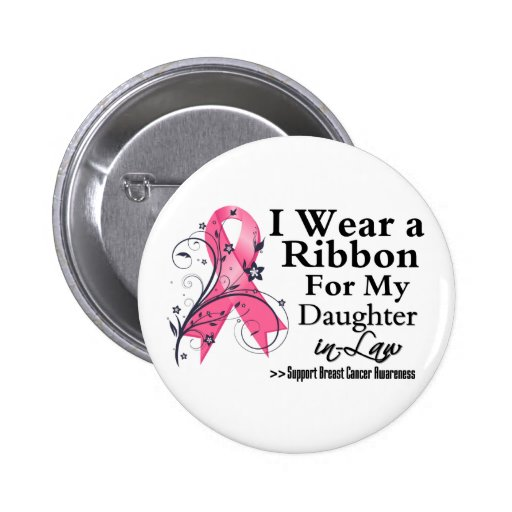 Daughter-in-Law Floral Ribbon - Breast Cancer Button