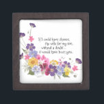 """Daughter-in-Law gift Jewelry Box<br><div class=""""desc"""">Show your daughter-in-law that you truly appreciate her by sending a gift with this special message.  Pressed flowers and calligraphy by Simone Sheppard.  This beautiful arrangement of flowers from her garden includes wild and scented geraniums,  viola,  larkspur and Queen Anne&#39;s Lace.</div>"""