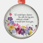 Daughter-in-Law gift Round Metal Christmas Ornament