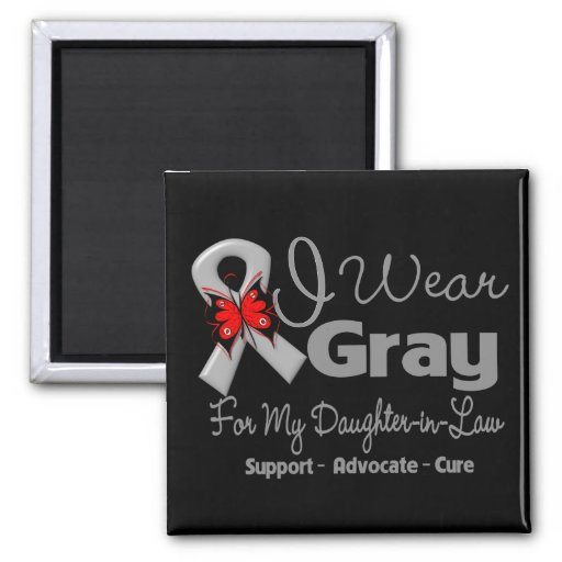 Daughter-in-Law - Gray Ribbon Awareness 2 Inch Square Magnet