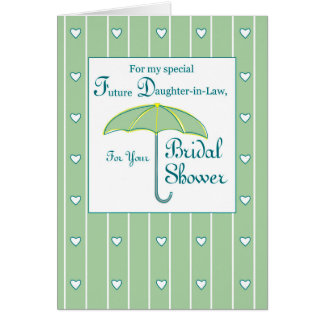 green bridal shower umbrella card