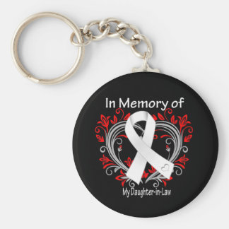 Daughter-in-Law - In Memory Lung Cancer Heart Keychain