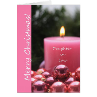 Daughter in Law pink ornament christmas card