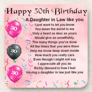 Daughter in Law Poem - 30th Birthday Beverage Coaster