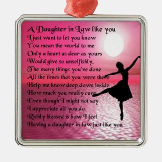 Daughter in Law Poem - Ballerina Metal Ornament