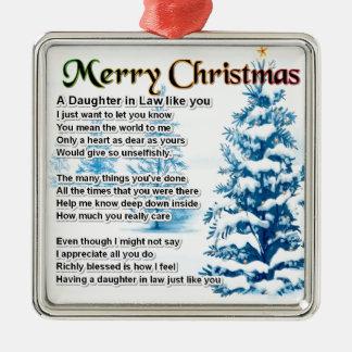 Daughter in Law Poem - Christmas Design Metal Ornament