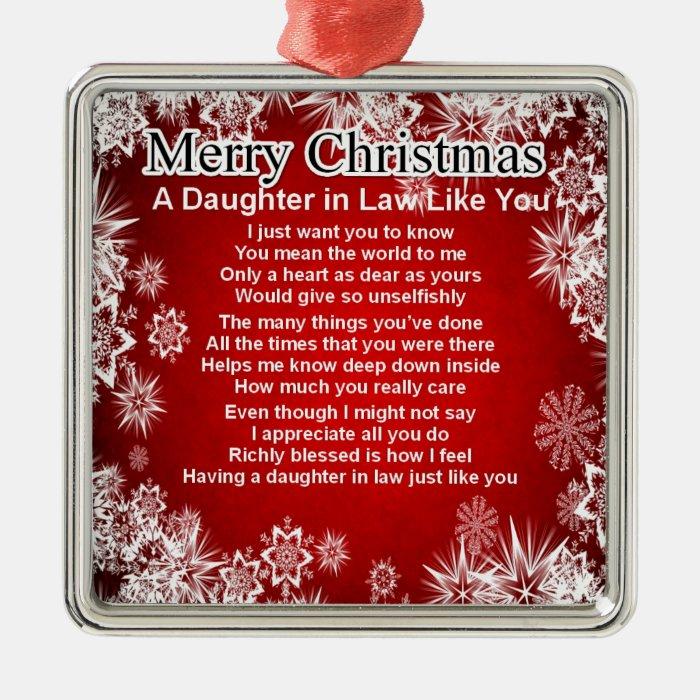 Daughter in Law Poem - Christmas Design Metal Ornament   Zazzle