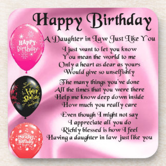 Daughter in Law Poem -  Happy Birthday Drink Coaster