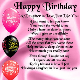 Daughter In Law Poem Home Birthday Gifts